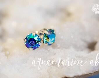 Aquamarine AB Swarovski Stud Earrings - 8mm