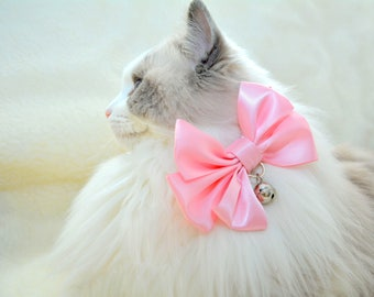 Fancy cat bow tie in pink, baby blue, ivory colours - slide on cat bow tie - fits most types of pet collars