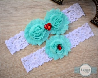 Handmade Lace Garter Wedding with White Lace, Baby Blue Flower & Red Rhinestone by BespokeGarters