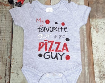 My favorite guy is the pizza guy baby girl funny grey short sleeve bodysuit fast shipping birth bringing home outfit sparkle