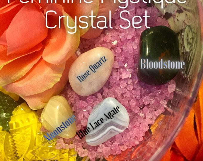 Feminine Mystique ~ Rose Quartz, Blue Lace Agate, Bloodstone, & Moonstone