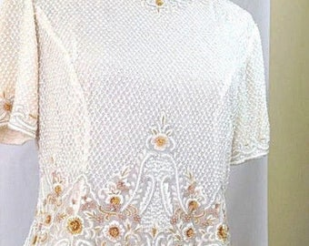 Masterpiece! VINTAGE ESCADA Margaretha Ley  beaded top* 40*S