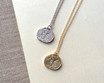 Wood Slice Charm Necklace, tree stump necklace, tree pendant necklace, wood charm necklace, tree charm jewelry, woodland necklace