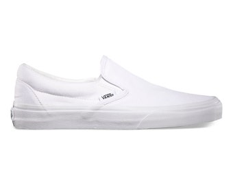 Women's White Slip On Vans-Customizable