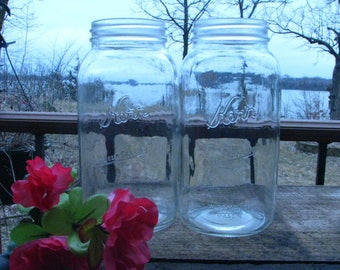 2 Vintage Kerr Self Sealing Wide Mouth Mason Canning Jars.  Half Gallon size