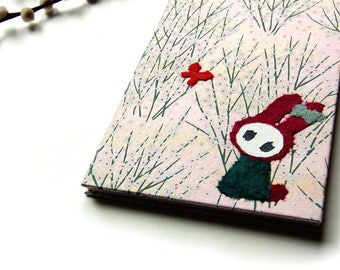 """Accordion Photo Album """"Bunny in Blossoms on Pink"""" Yuzen"""