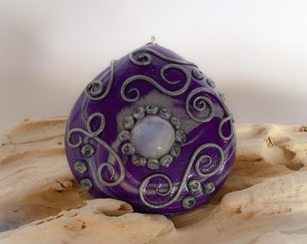 Moonstone, Purple and Silver Clay Handcrafted Pendant - 45mm x 47mm x 13mm