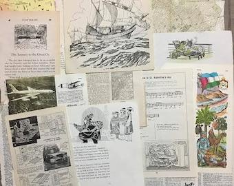 Travel Fun Bits and Bobs Collage & Mixed Media Inspiration Ephemera  Box