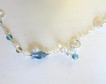 Handmade Wire Wrapping Bracelet with Swarovski Crystals Bracelet.  102