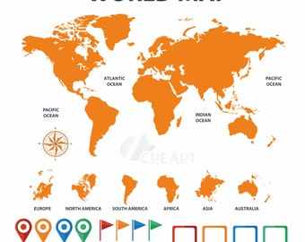 World map vector etsy world map with pins flags textbox clip art silhouette for decor instant gumiabroncs Images
