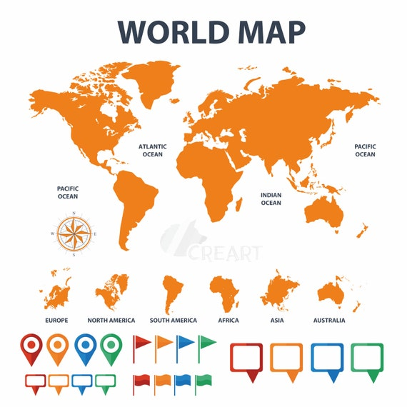 World map with pins flags textbox clip art silhouette for world map with pins flags textbox clip art silhouette for decor instant download digital file png svg dxf eps vector included from creartdesigns gumiabroncs Choice Image