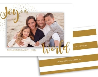 Holiday Card Template, Christmas Card Modern, Photoshop Template, instant download, Joy to the World