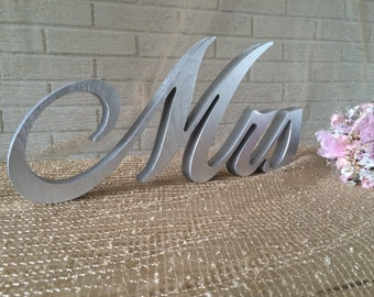Silver letters table sign Mrs and Mr for wedding table  - cript Mrs and Mr, Mrs and Mr wedding sign, wooden letters Mrs and Mr