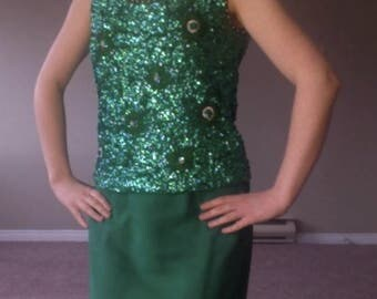 20% OFF! Amazing 50's Mad Men Emerald Green Miss Sun Valley Sequinned Top with Pearls and Beads, and Designer Green Maxi 60's Slit Skirt