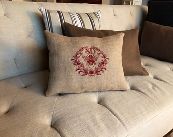 Monogrammed Burlap Bee Pillow/French Country Pillow