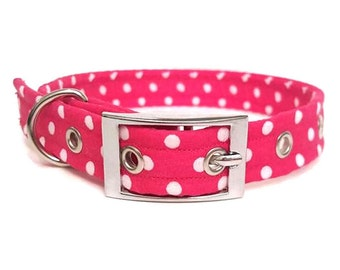 Dog collar, Pink dog collar, poka dots, female collar, girl dog collar, metal buckle collar, plastic buckle collar, adjustable dog collar