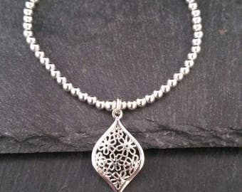 Genuine 925 Sterling Silver Stackable Ball Beaded Elastic Stretch Ornate Flower Pendant Charm Bracelet