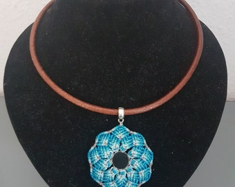 Blue Mandala Necklace with obsidian