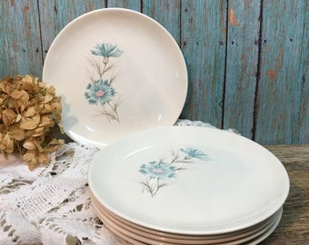 Taylor Smith Taylor Boutonniere Dessert Plates/Turquoise/Set of Six/Forever Yours