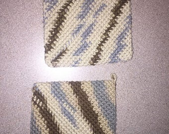 brown and blue double sided crochet pot holders / hot