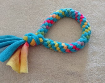 Fleece dog toy-dog tug toy-in blue multicolored fabric