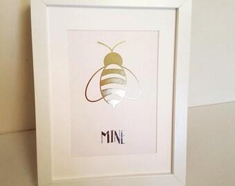 """Framed A5 Foil Print """"Bee Mine"""" Customisable"""