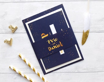 Navy and gold wedding bellyband Wedding invitation Package