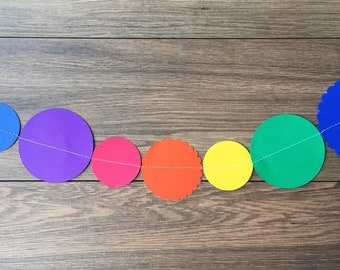 Rainbow banner, rainbow garland, paper banner, birthday decor, kids room decor, craft room decor, photo backdrop, paper circle banner