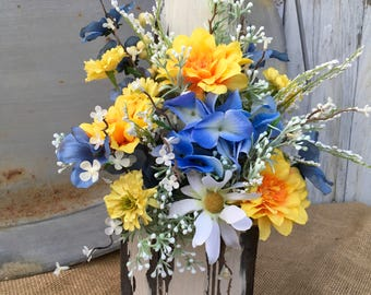 Spring Blue and Yellow Floral Arrangements, Summer Rustic Floral Centerpiece, Primitive Floral, Wedding  Centerpiece, Mothers Day Gift