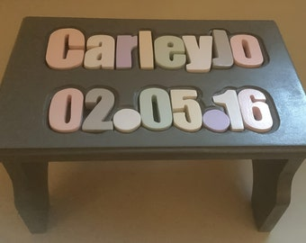 2 Line Name Puzzle Stool with Birthdate