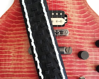 Tyre Guitar Strap/Tire Guitar Strap/Upcycled Recycled Guitar Strap/Handmade Guitar Strap/Vegan Guitar Strap/Black and White Guitar Strap