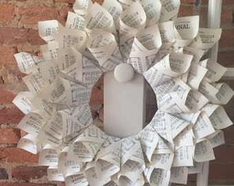 Bookpage or Music Pages Wreath