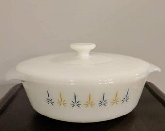 Vintage fire king casserole dish with lid