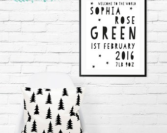 Personalised Baby Announcement // Birth Stats // Christening // Gift // A4 Print // A5 Print // Baby Shower // Keep Sake // Nursery // Inspo