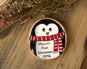 Baby's First Christmas Ornament, Penguin Ornament, Personalized Name Ornament, Handpainted Wood Ornament, Baby's 1st Christmas, Shower Gift