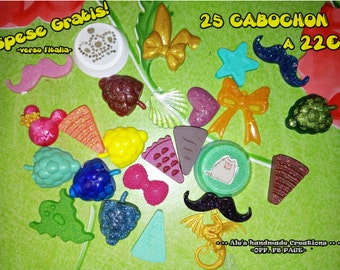 Lot n * 25 resin Cabochons-offer!