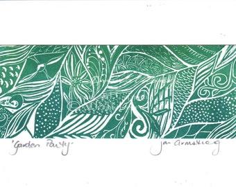Garden Party - Linocut Art Card