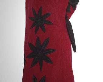 Fleece long dress tunic pointy hood flowers without arms