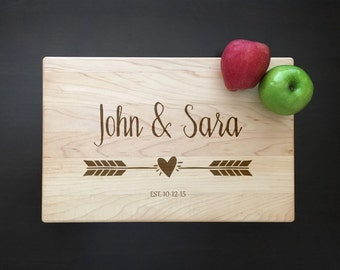 Couple Cutting Board Arrow Cutting Board Personalized Cutting Board Wedding Gift Engagement Gift Housewarming Gift New Home Gift Couple Gift