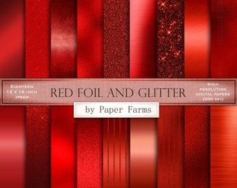 Red foil digital paper, red foil textures, glitter and foil, red brushed metal, red glitter, scrapbook paper, red foil backgrounds, DOWNLOAD