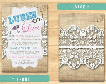 Lures or Lace Gender Reveal Invitation
