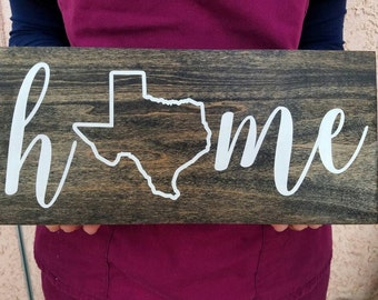 Home state sign, housewarming gift handpainted wood sign