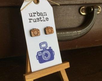 Au Naturel vintage camera stud earrings - retro wooden earrings - wooden studs - wooden jewelry - wooden jewellery - hipster earrings