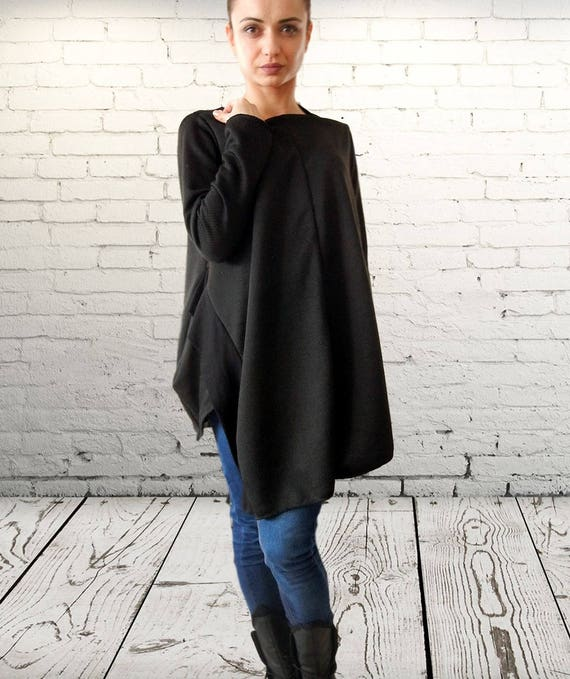 Asymmetric Flattering Top, Unique Deconstructed Black Tunic, Double Parts Top Tunic, Clubwear, Party Tank Top, Sexy Alternative Top Tunic