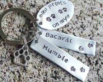 Pet Memorial, pet keychain, paw prints on my heart, Custom pet keychain, death of pet, death of dog, sympathy gift, my dog is my angel