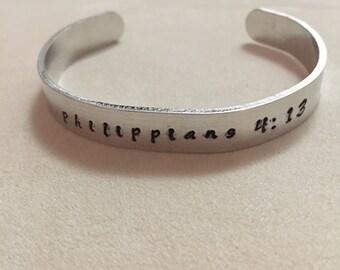 custom metal stamped bracelet