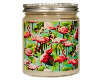 Vintage Flamingo Candle, Tropical Decor, Beach Soy Candle, Flamingo Candle, Scented Candle, Container Candle, Soy Candle, Summer Candle