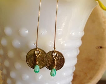 Coin Earrings with Green Glass Bead Embellishment