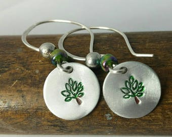 Silver Tree Stamped Earrings - Hand Stamped and Colored Disk Earrings with Bead- One of a Kind