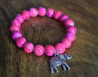 Marbled pink pearls 10mm bracelet